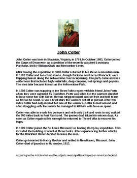 John Colter Article Biography and Assignment