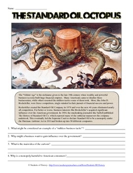 John D. Rockefeller and Standard Oil Cartoon Analysis Worksheet