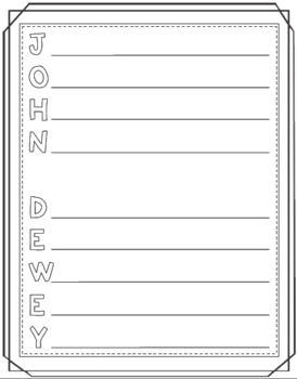John Dewey Timeline Poster Acrostic Poem Activity with Reading Passage
