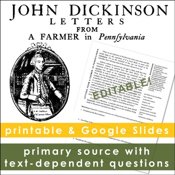 John Dickinson, Letters from a Farmer in Pennsylvania