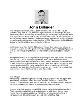 John Dillinger Article and Assignment