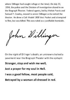 John Dillinger Handout