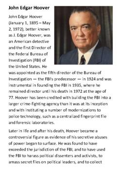 John Edgar Hoover Handout