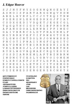 John Edgar Hoover Word Search