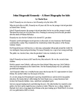 John F. Kennedy - A Short Biography for Kids (with review quiz)