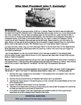 John F Kennedy Assassination / Conspiracy GREAT Inquiry Lesson