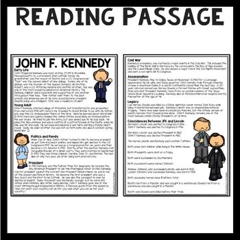 John F. Kennedy Biography Reading Comprehension Worksheet, JFK, Cold War