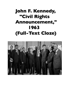 "John F. Kennedy, ""Civil Rights Announcement,"" 1963 (Full-Text Cloze)"