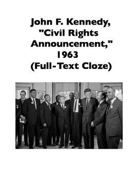 "John F. Kennedy, ""Civil Rights Announcement,"" 1963 (Full-Text Cloze)"
