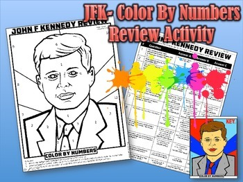 John F Kennedy: Color By Numbers Review Activity