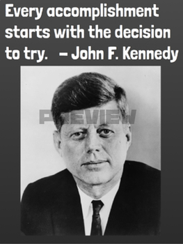 John F. Kennedy Quote Growth Mindset Poster