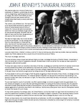 john f kennedy inaugural speech purpose