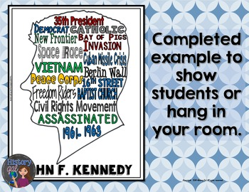 John F. Kennedy (JFK) Coloring Page and Word Cloud Activity