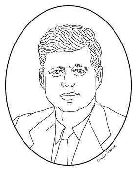 John F. Kennedy Clip Art, Coloring Page or Mini Poster