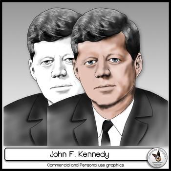 John F. Kennedy Realistic Clip Art Portrait