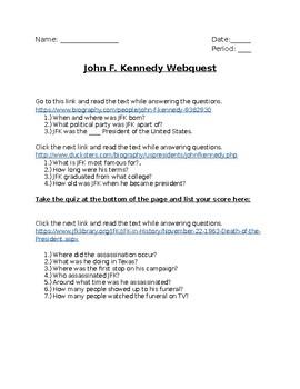 John F. Kennedy (JFK) Webquest