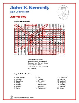John F. Kennedy - Word Search and Fill in the Blanks