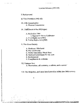 John F. Kennedy and Lyndon B. Johnson Notes/Lecture/ student worksheet