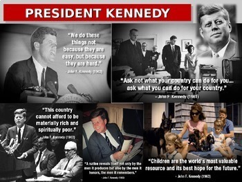 John F Kennedy: quotes, cartoons, foreign/domestic legacy PPT & handout
