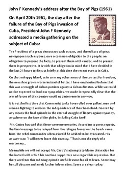 John F Kennedy's address after the Bay of Pigs (1961)