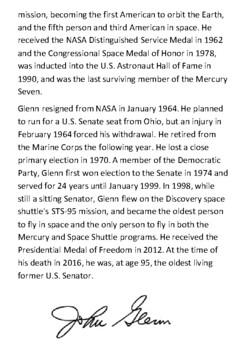 John Glenn Handout