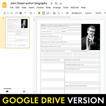 John Green Author Study Worksheet, Easy Biography Activity, CCSS