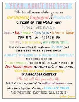 "John Green ""Everything is on the Test"" poster"