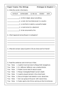 "John Green ""Paper Towns"" worksheets"