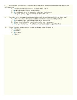 John Grisham Biography Article and ACT Style Quiz