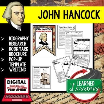 John Hancock Biography Research, Bookmark Brochure, Pop-Up, Writing