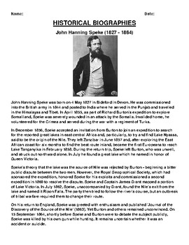 John Hanning Speke Biography Article and (3) Assignments