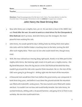 John Henry Common Core Reading Assessment
