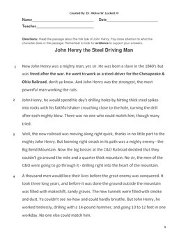 John Henry Common Core Reading Assessment