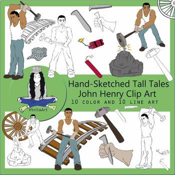 John Henry Tall Tales Clip Art bundle