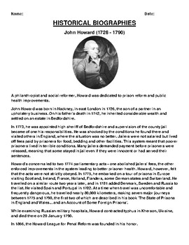 John Howard Biography Article and (3) Assignments