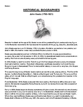 John Keats  Biography Article and (3) Assignments