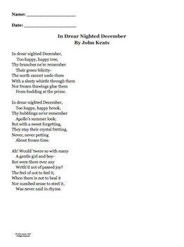 "John Keats ""In Drear Night December"" Winter Activity"