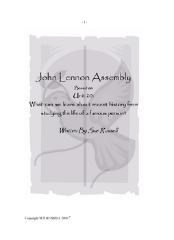 John Lennon Class Play or Assembly