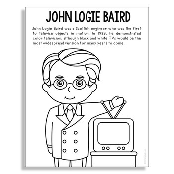 John Logie Baird Coloring Page Craft or Poster, STEM Technology History