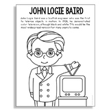 JOHN LOGIE BAIRD Inventor Coloring Page Craft or Poster, STEM Technology History