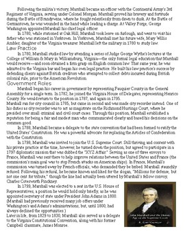 John Marshall - Chief Justice Supreme Court Biography with Questions