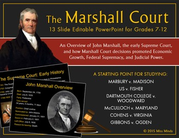 John Marshall & the Supreme Court: a PowerPoint Intro to t