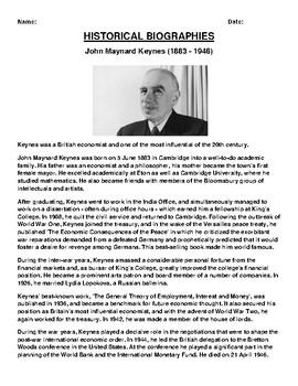 John Maynard Keynes Biography Article and (3) Assignments