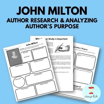John Milton - Author Study Worksheet, Author's Purpose, Author Research