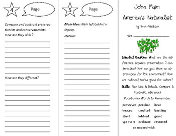 John Muir: America's Naturalist Trifold - Open Court 5th Grade Unit 4 Lesson 2