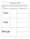 John, Paul, George & Ben Character Trait Organizer