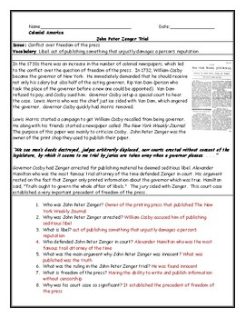 John Peter Zenger Trial Reading with Questions Worksheet and Answer Key