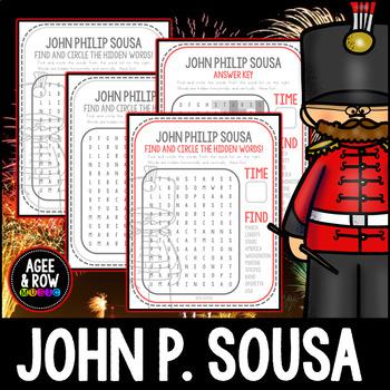 John Philip Sousa Word Search, America, Marches, Patriotic, USA, Music