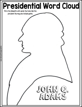 john quincy adams coloring page and word cloud activity by history gal john quincy adams 1824