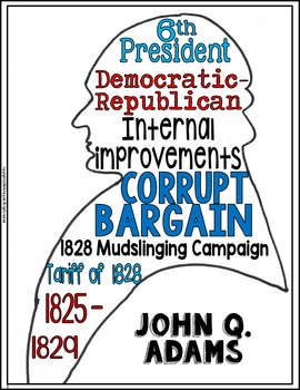 John Quincy Adams Coloring Page and Word Cloud Activity